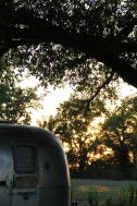 Sun setting above the airstream at Seven Chimney farms